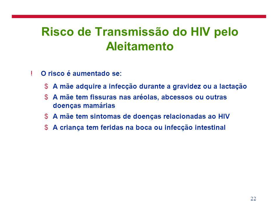 22 Risco de Transmissão do HIV pelo Aleitamento !O risco é aumentado se: $A mãe adquire a infecção durante a gravidez ou a lactação $A mãe tem fissura