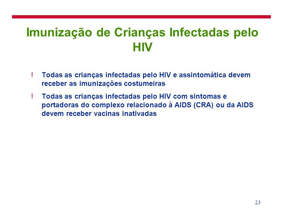 23 Imunização de Crianças Infectadas pelo HIV !Todas as crianças infectadas pelo HIV e assintomática devem receber as imunizações costumeiras !Todas a