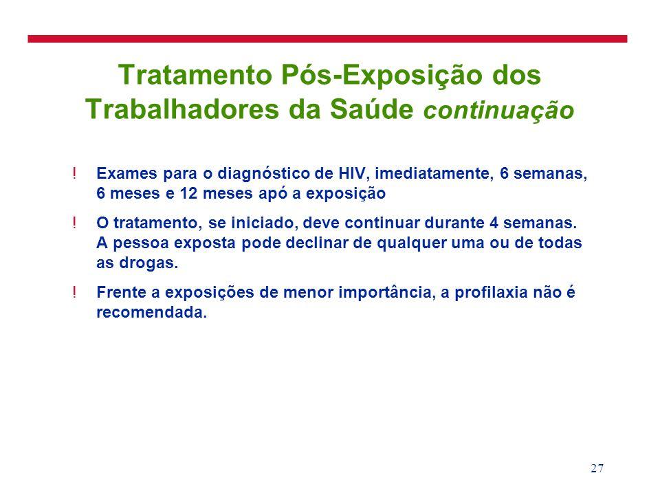 27 Tratamento Pós-Exposição dos Trabalhadores da Saúde continuação !Exames para o diagnóstico de HIV, imediatamente, 6 semanas, 6 meses e 12 meses apó