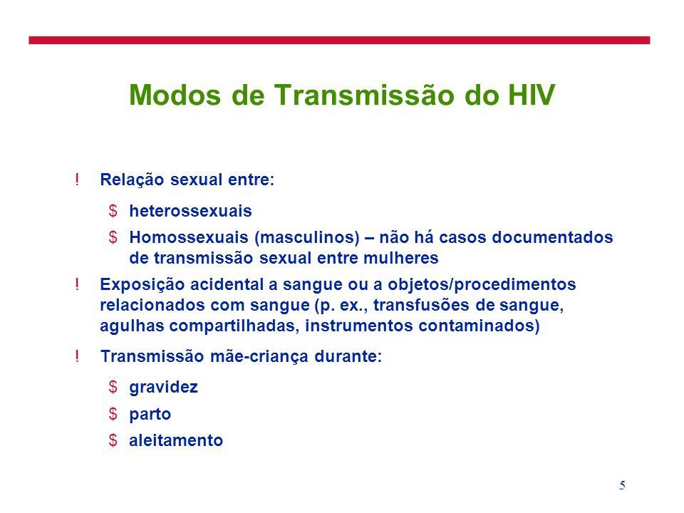 5 Modos de Transmissão do HIV !Relação sexual entre: $heterossexuais $Homossexuais (masculinos) – não há casos documentados de transmissão sexual entr