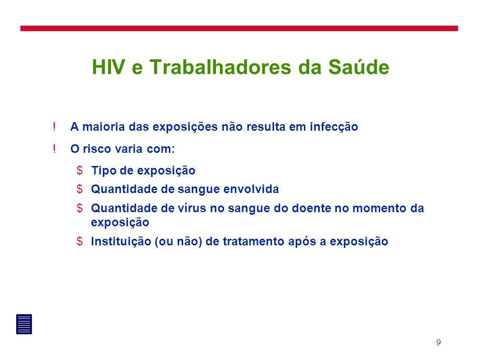 9 HIV e Trabalhadores da Saúde !A maioria das exposições não resulta em infecção !O risco varia com: $Tipo de exposição $Quantidade de sangue envolvid