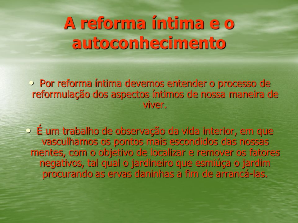 A reforma íntima e o autoconhecimento Por reforma íntima devemos entender o processo de reformulação dos aspectos íntimos de nossa maneira de viver. P