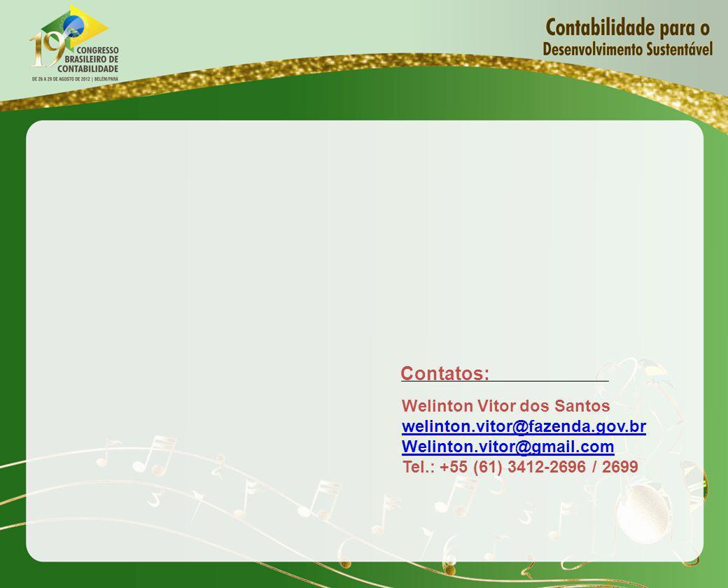 Welinton Vitor dos Santos welinton.vitor@fazenda.gov.br Welinton.vitor@gmail.com Tel.: +55 (61) 3412-2696 / 2699 Contatos: