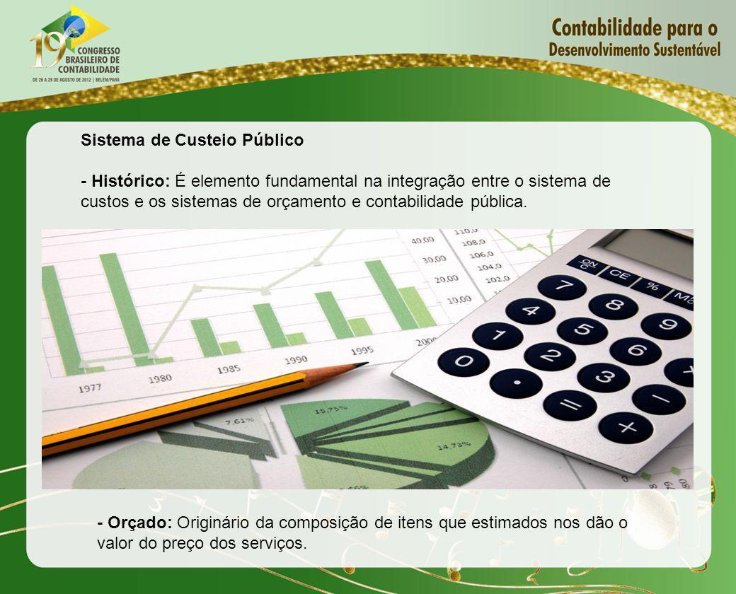 Sistema de Custeio Público - Histórico: É elemento fundamental na integração entre o sistema de custos e os sistemas de orçamento e contabilidade públ