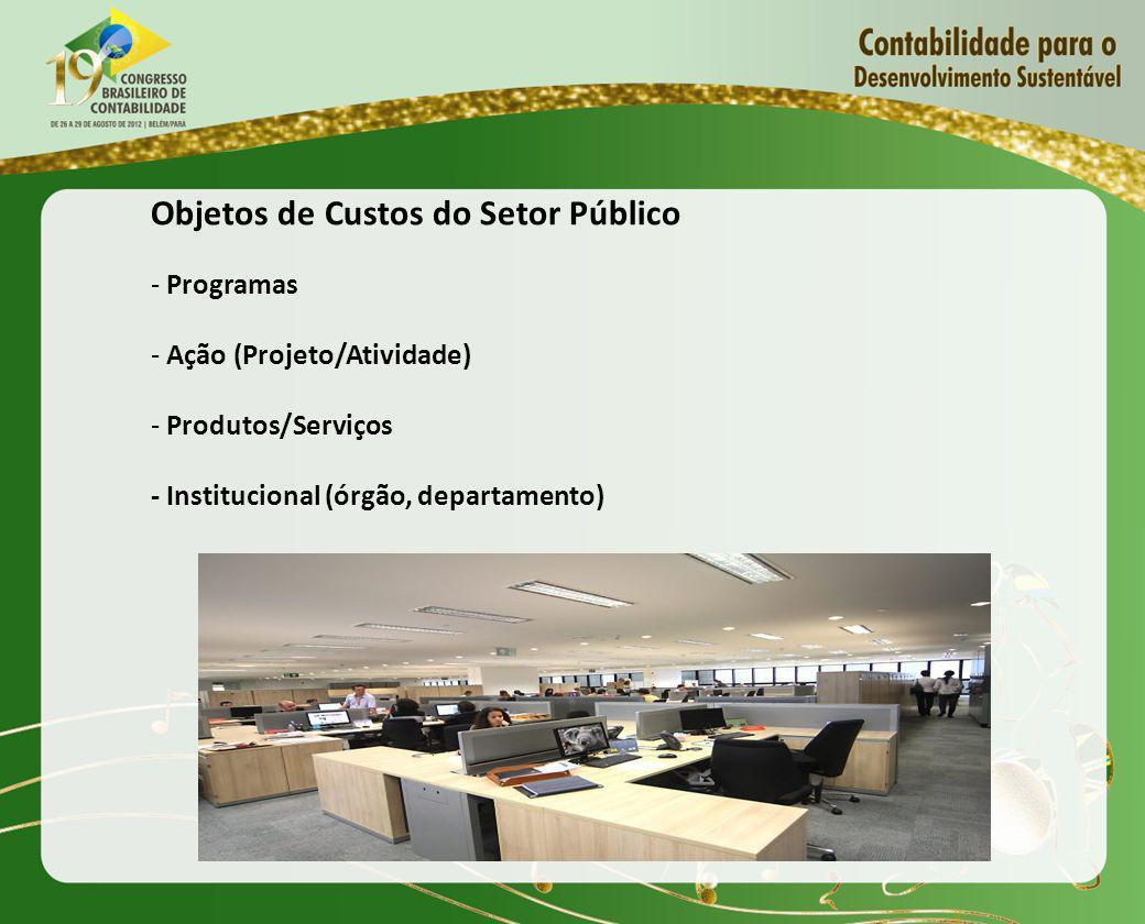 Objetos de Custos do Setor Público - Programas - Ação (Projeto/Atividade) - Produtos/Serviços - Institucional (órgão, departamento)