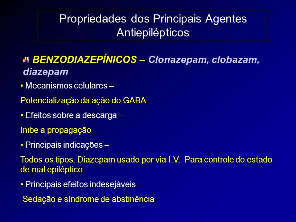 Propriedades dos Principais Agentes Antiepilépticos BENZODIAZEPÍNICOS – Clonazepam, clobazam, diazepam Mecanismos celulares – Potencialização da ação
