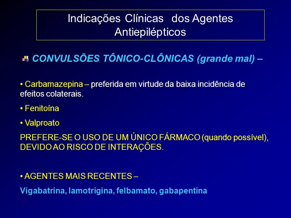 Indicações Clínicas dos Agentes Antiepilépticos CONVULSÕES TÔNICO-CLÔNICAS (grande mal) – Carbamazepina – preferida em virtude da baixa incidência de