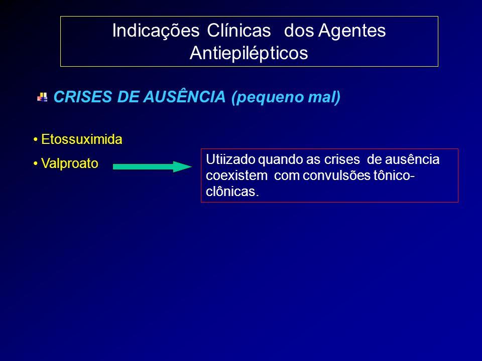 Indicações Clínicas dos Agentes Antiepilépticos CRISES DE AUSÊNCIA (pequeno mal) Etossuximida Valproato Utiizado quando as crises de ausência coexiste