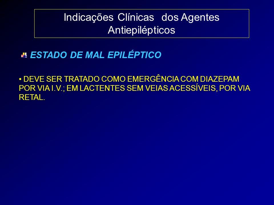 Indicações Clínicas dos Agentes Antiepilépticos ESTADO DE MAL EPILÉPTICO DEVE SER TRATADO COMO EMERGÊNCIA COM DIAZEPAM POR VIA I.V.; EM LACTENTES SEM