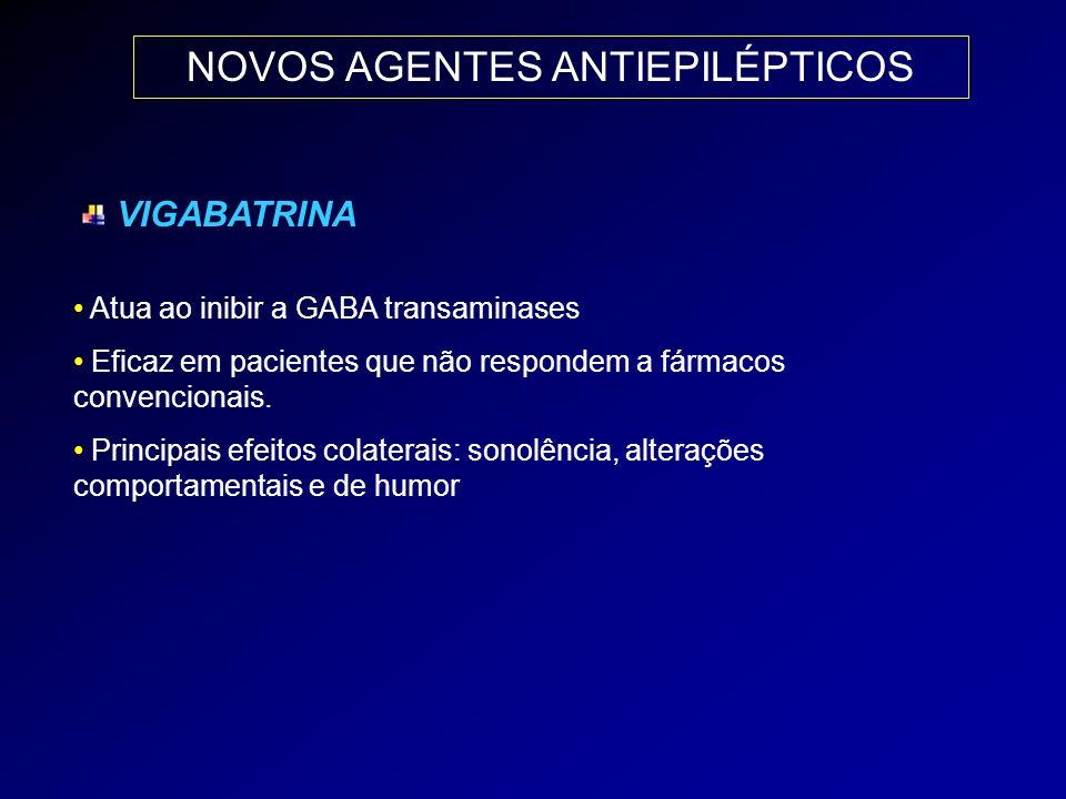 NOVOS AGENTES ANTIEPILÉPTICOS VIGABATRINA Atua ao inibir a GABA transaminases Eficaz em pacientes que não respondem a fármacos convencionais. Principa