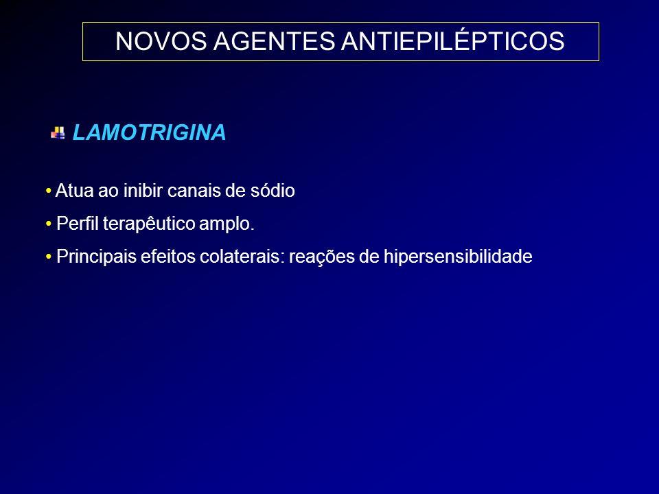 NOVOS AGENTES ANTIEPILÉPTICOS LAMOTRIGINA Atua ao inibir canais de sódio Perfil terapêutico amplo. Principais efeitos colaterais: reações de hipersens