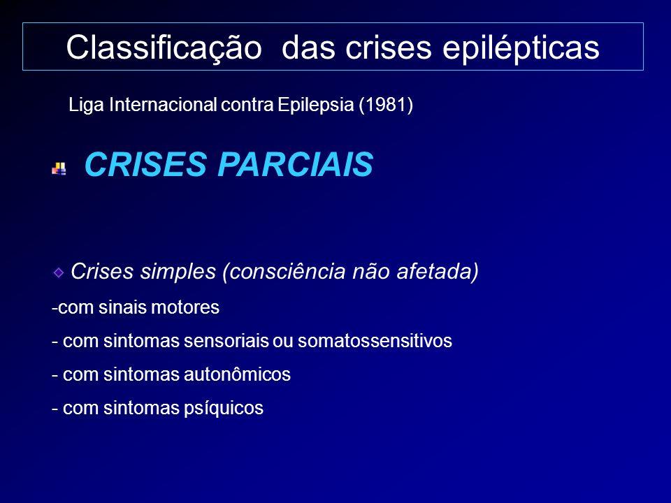 Classificação das crises epilépticas CRISES PARCIAIS Crises simples (consciência não afetada) -com sinais motores - com sintomas sensoriais ou somatos
