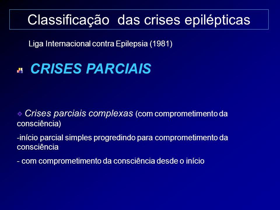 Classificação das crises epilépticas CRISES PARCIAIS Crises parciais complexas (com comprometimento da consciência) -início parcial simples progredind