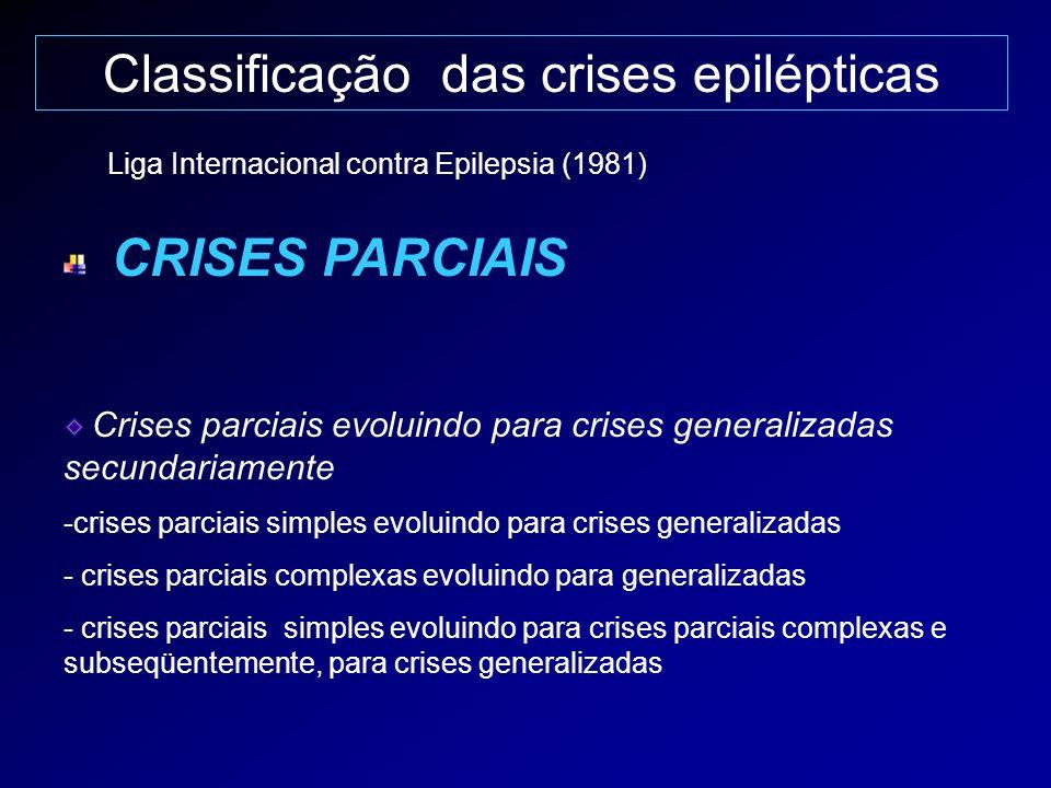 Classificação das crises epilépticas CRISES PARCIAIS Crises parciais evoluindo para crises generalizadas secundariamente -crises parciais simples evol