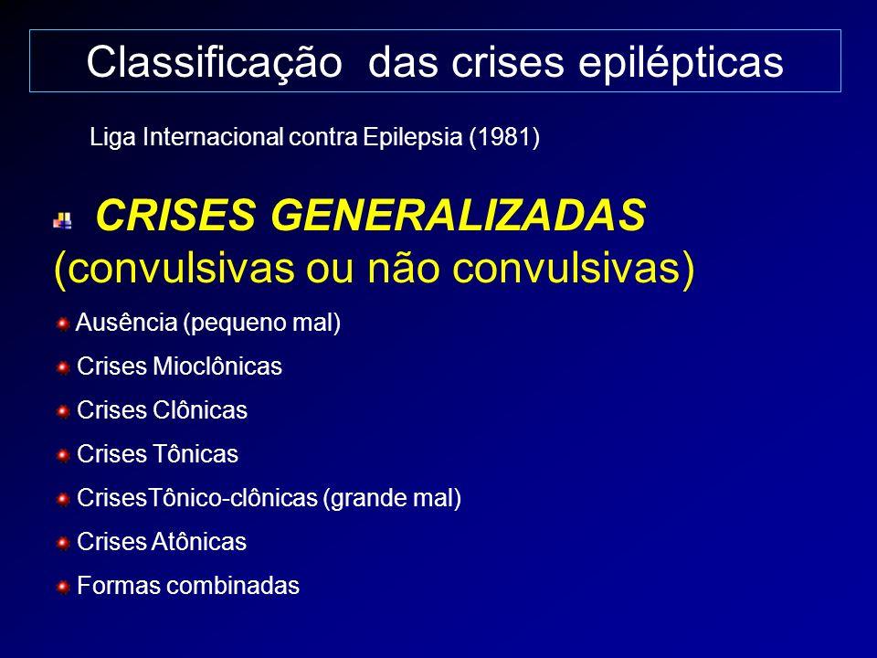 Classificação das crises epilépticas CRISES GENERALIZADAS (convulsivas ou não convulsivas) Ausência (pequeno mal) Crises Mioclônicas Crises Clônicas C
