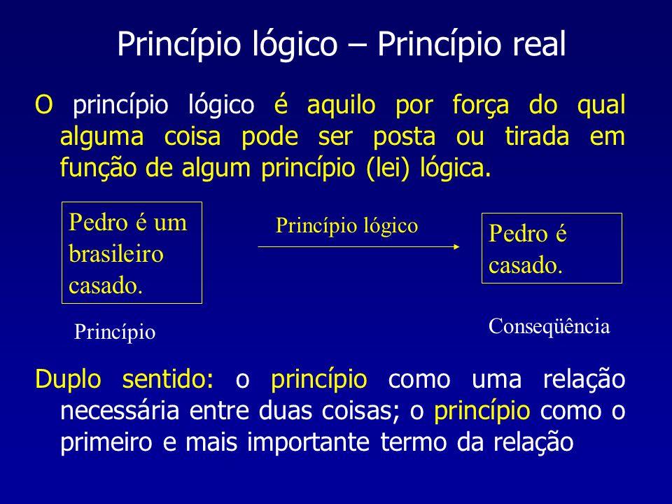 O princípio lógico é aquilo por força do qual alguma coisa pode ser posta ou tirada em função de algum princípio (lei) lógica. Princípio lógico – Prin
