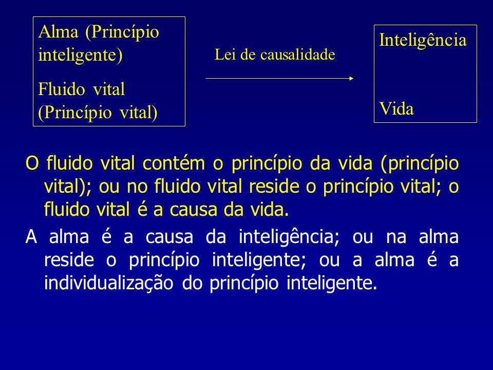 Alma (Princípio inteligente) Fluido vital (Princípio vital) Inteligência Vida Lei de causalidade O fluido vital contém o princípio da vida (princípio