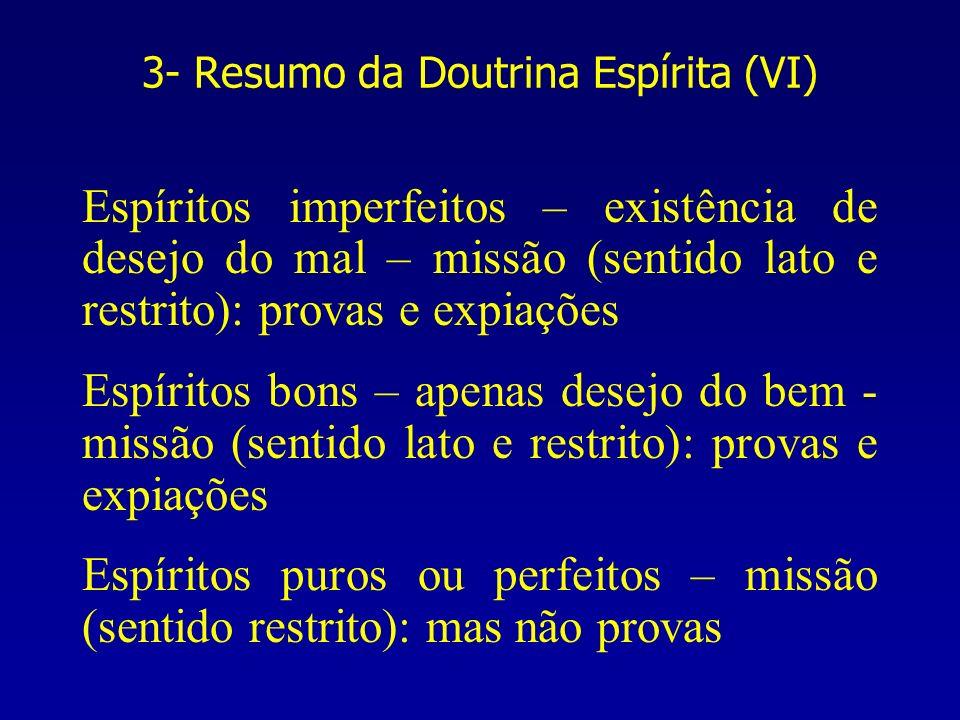 3- Resumo da Doutrina Espírita (VI) Espíritos imperfeitos – existência de desejo do mal – missão (sentido lato e restrito): provas e expiações Espírit