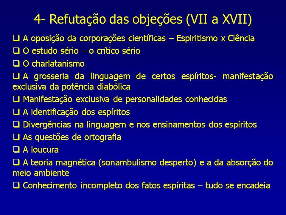 4- Refutação das objeções (VII a XVII) A oposição da corporações científicas – Espiritismo x Ciência O estudo sério – o crítico sério O charlatanismo