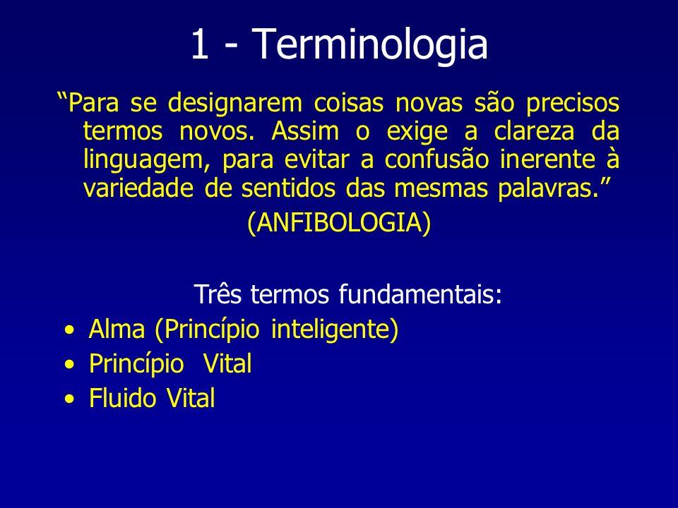1 - Terminologia Para se designarem coisas novas são precisos termos novos. Assim o exige a clareza da linguagem, para evitar a confusão inerente à va