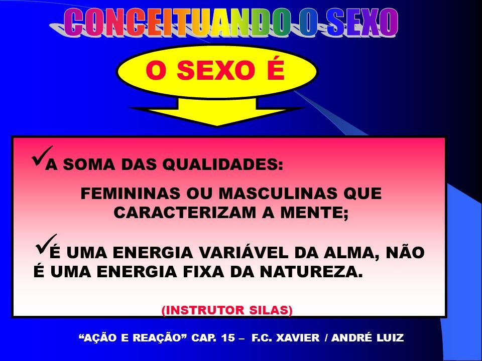 O SEXO É A SOMA DAS QUALIDADES: FEMININAS OU MASCULINAS QUE CARACTERIZAM A MENTE; AÇÃO E REAÇÃO CAP. 15 – F.C. XAVIER / ANDRÉ LUIZ É UMA ENERGIA VARIÁ