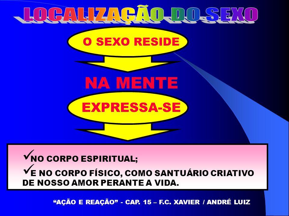 O SEXO RESIDE AÇÃO E REAÇÃO - CAP. 15 – F.C. XAVIER / ANDRÉ LUIZ NA MENTE EXPRESSA-SE NO CORPO ESPIRITUAL; E NO CORPO FÍSICO, COMO SANTUÁRIO CRIATIVO