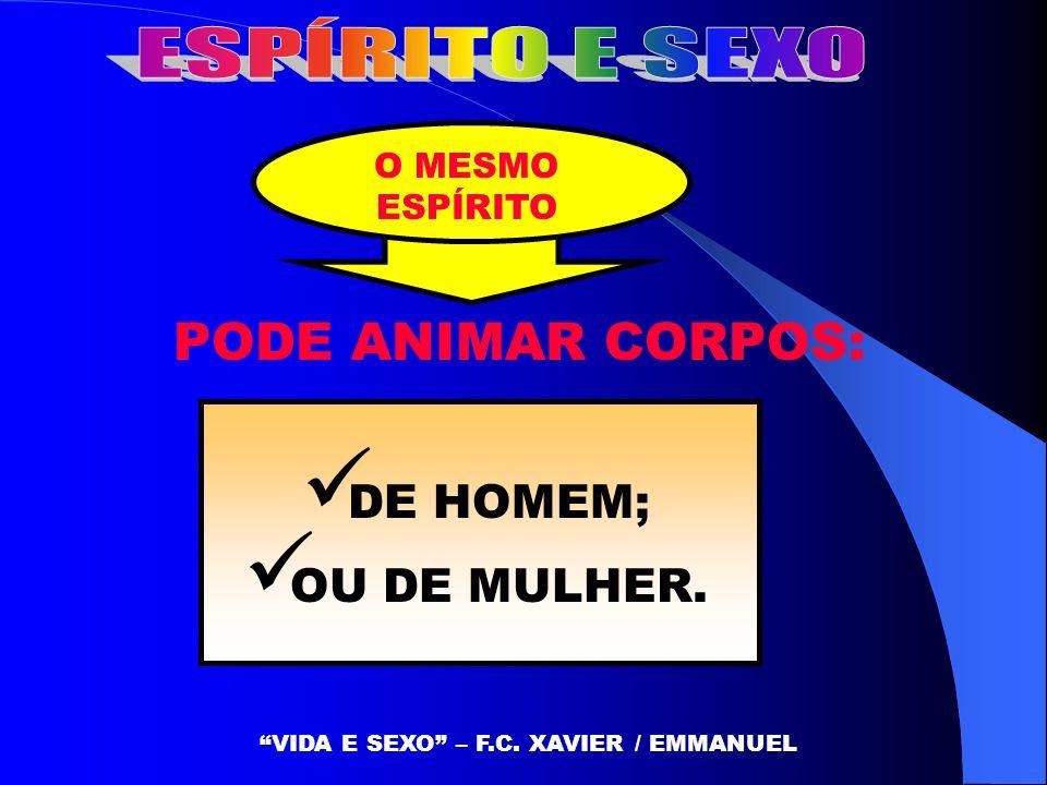 O MESMO ESPÍRITO DE HOMEM; OU DE MULHER. PODE ANIMAR CORPOS: VIDA E SEXO – F.C. XAVIER / EMMANUEL