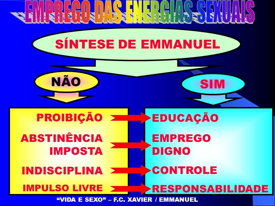 SÍNTESE DE EMMANUEL NÃO PROIBIÇÃO ABSTINÊNCIA IMPOSTA INDISCIPLINA IMPULSO LIVRE EDUCAÇÃO EMPREGO DIGNO CONTROLE RESPONSABILIDADE SIM VIDA E SEXO – F.