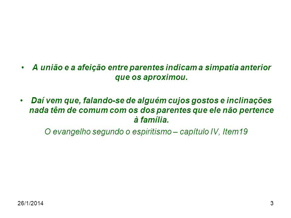 26/1/20144 Os laços de família não são destruídos pela reencarnação, como pensam certas pessoas.