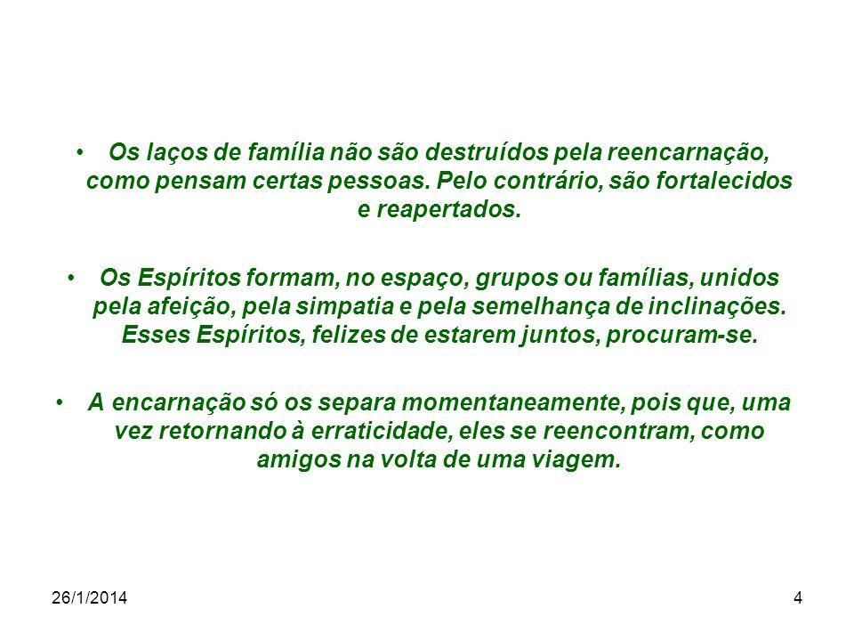 26/1/20144 Os laços de família não são destruídos pela reencarnação, como pensam certas pessoas. Pelo contrário, são fortalecidos e reapertados. Os Es