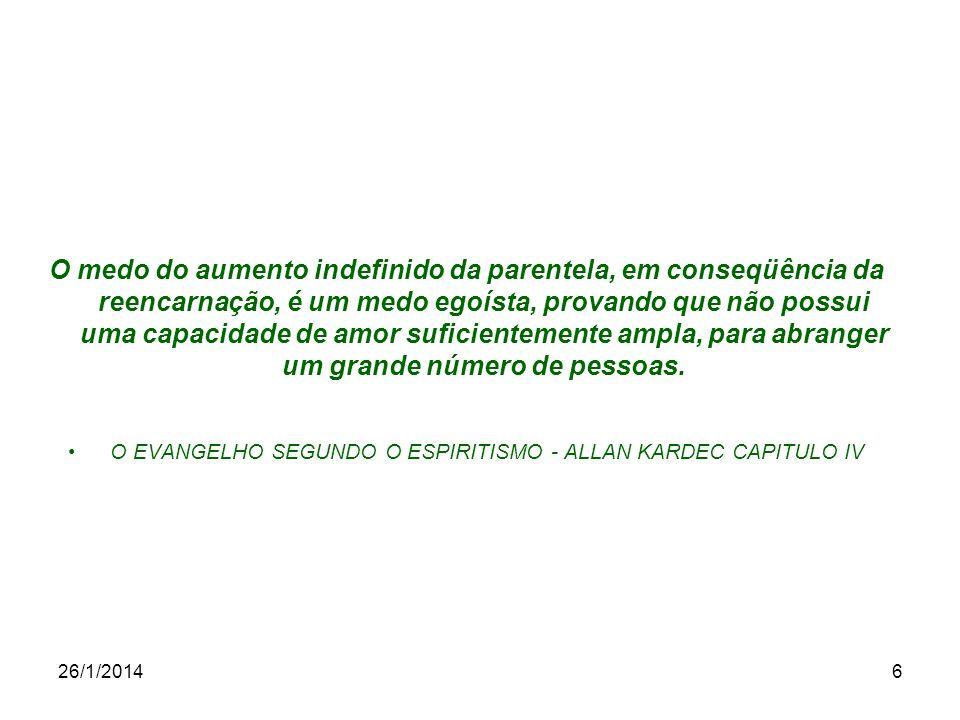 26/1/20146 O medo do aumento indefinido da parentela, em conseqüência da reencarnação, é um medo egoísta, provando que não possui uma capacidade de am