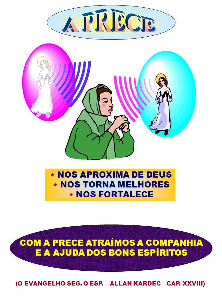 NOS APROXIMA DE DEUS NOS TORNA MELHORES NOS FORTALECE (O EVANGELHO SEG. O ESP. – ALLAN KARDEC – CAP. XXVIII) COM A PRECE ATRAÍMOS A COMPANHIA E A AJUD