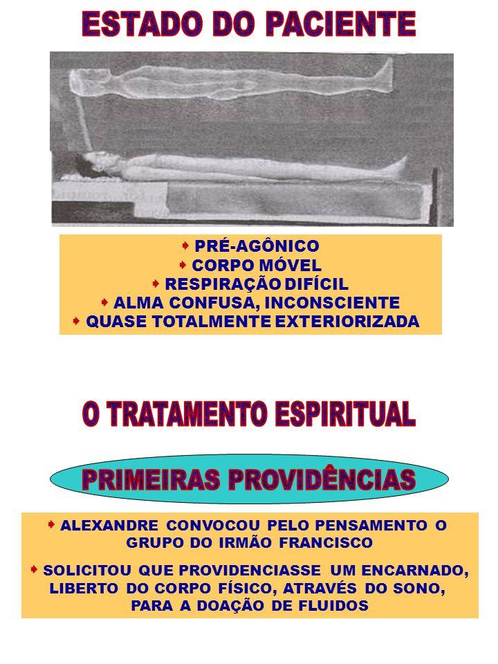 PRÉ-AGÔNICO CORPO MÓVEL RESPIRAÇÃO DIFÍCIL ALMA CONFUSA, INCONSCIENTE QUASE TOTALMENTE EXTERIORIZADA ALEXANDRE CONVOCOU PELO PENSAMENTO O GRUPO DO IRM