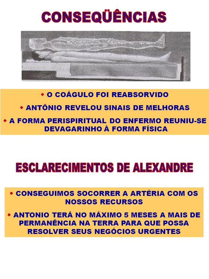 O COÁGULO FOI REABSORVIDO ANTÔNIO REVELOU SINAIS DE MELHORAS A FORMA PERISPIRITUAL DO ENFERMO REUNIU-SE DEVAGARINHO À FORMA FÍSICA CONSEGUIMOS SOCORRE
