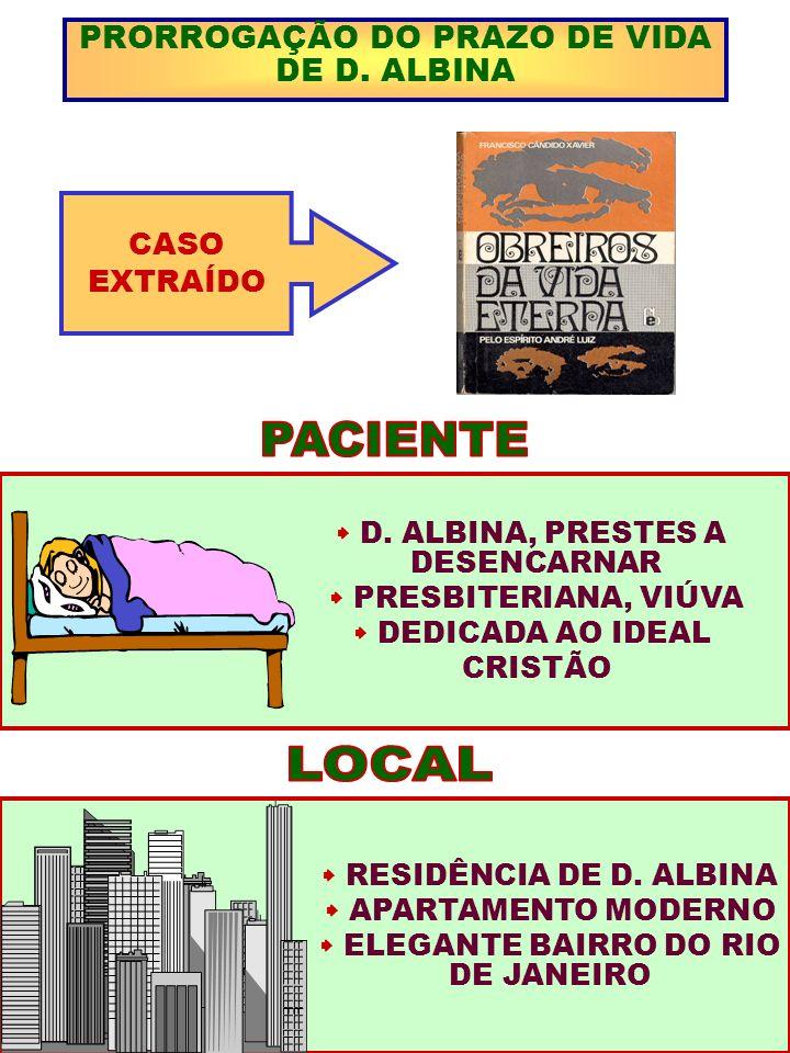 PRORROGAÇÃO DO PRAZO DE VIDA DE D. ALBINA CASO EXTRAÍDO D. ALBINA, PRESTES A DESENCARNAR PRESBITERIANA, VIÚVA DEDICADA AO IDEAL CRISTÃO RESIDÊNCIA DE