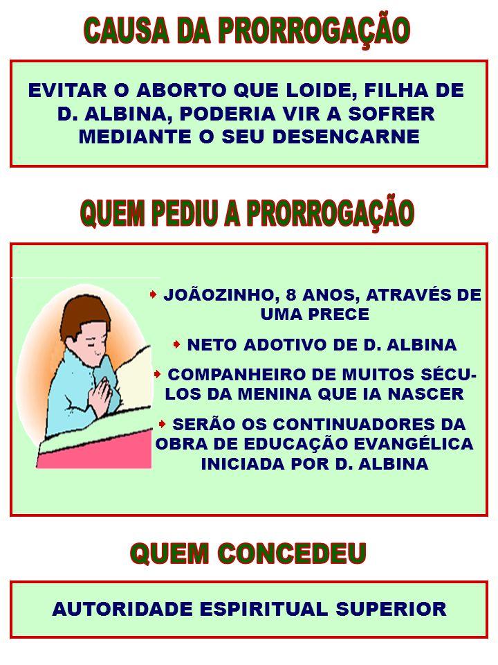 EVITAR O ABORTO QUE LOIDE, FILHA DE D. ALBINA, PODERIA VIR A SOFRER MEDIANTE O SEU DESENCARNE JOÃOZINHO, 8 ANOS, ATRAVÉS DE UMA PRECE NETO ADOTIVO DE