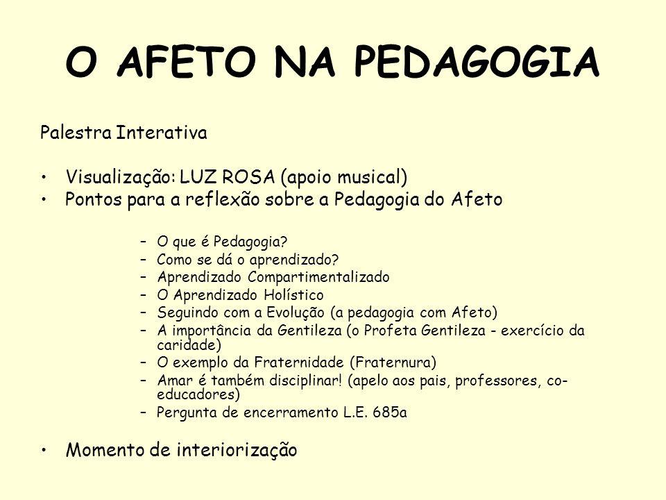 O AFETO NA PEDAGOGIA Palestra Interativa Visualização: LUZ ROSA (apoio musical) Pontos para a reflexão sobre a Pedagogia do Afeto –O que é Pedagogia?