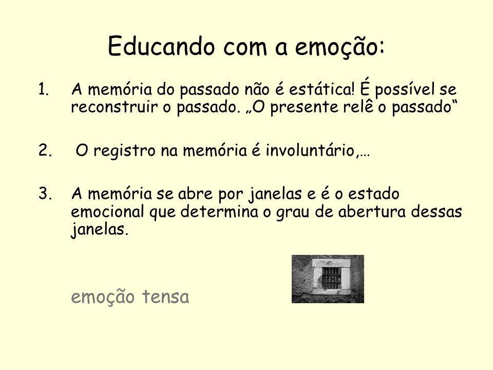 Educando com a emoção: 1.A memória do passado não é estática! É possível se reconstruir o passado. O presente relê o passado 2. O registro na memória