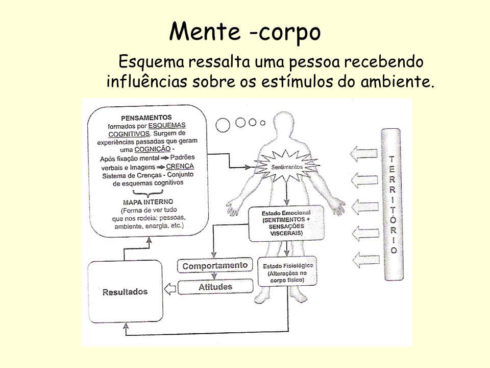 Mente -corpo Esquema ressalta uma pessoa recebendo influências sobre os estímulos do ambiente.