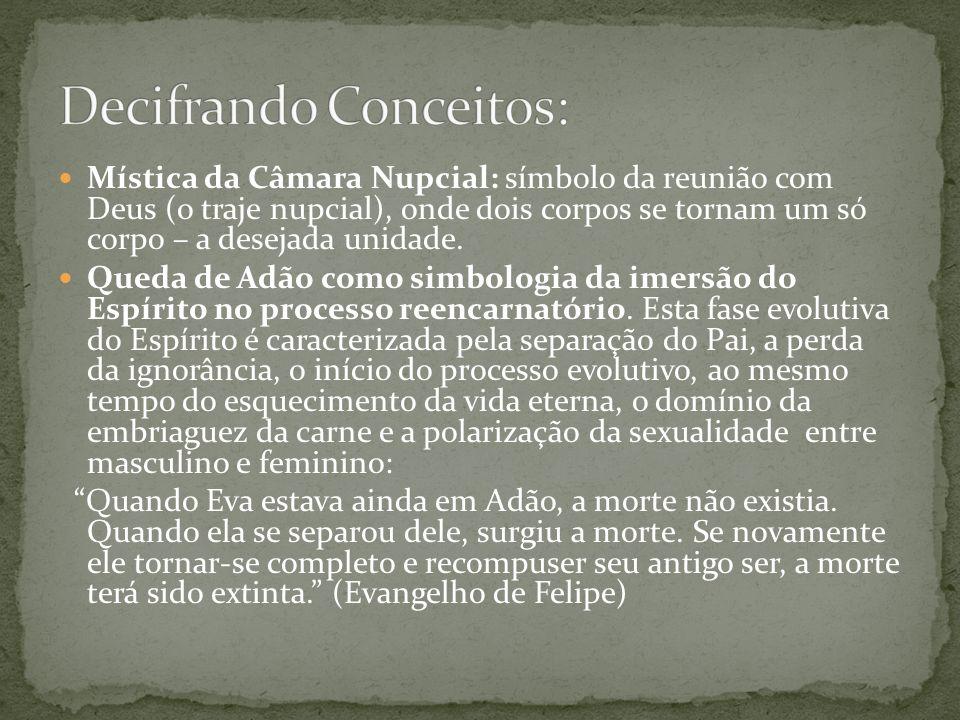 Mística da Câmara Nupcial: símbolo da reunião com Deus (o traje nupcial), onde dois corpos se tornam um só corpo – a desejada unidade. Queda de Adão c