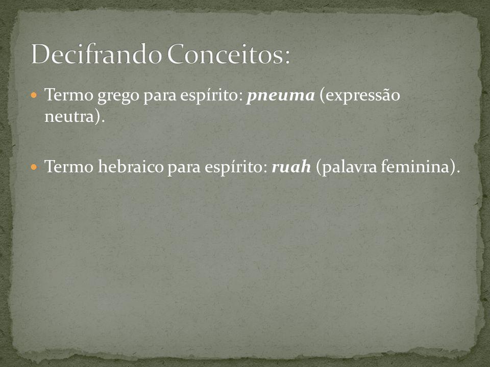 Termo grego para espírito: pneuma (expressão neutra). Termo hebraico para espírito: ruah (palavra feminina).