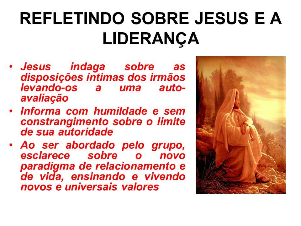 REFLETINDO SOBRE JESUS E A LIDERANÇA * Jesus, com sua autoridade moral firma sua liderança sem o uso do poder * Sua liderança assenta-se em duas bases : o serviço e o sacrifício