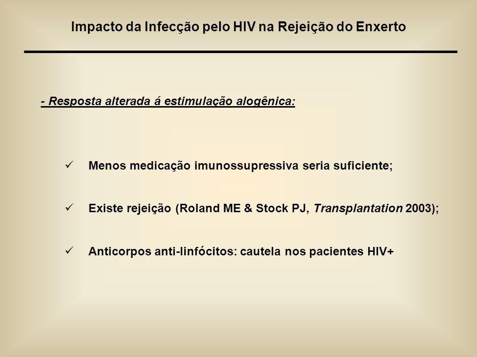 - Resposta alterada á estimulação alogênica: Menos medicação imunossupressiva seria suficiente; Existe rejeição (Roland ME & Stock PJ, Transplantation