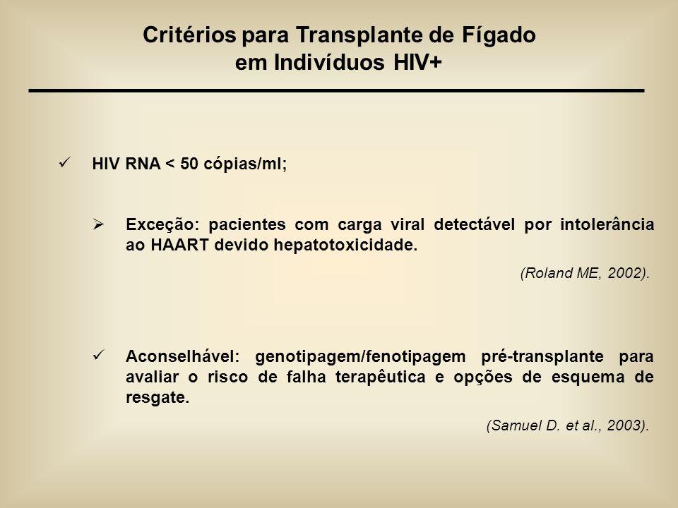 HIV RNA < 50 cópias/ml; Exceção: pacientes com carga viral detectável por intolerância ao HAART devido hepatotoxicidade. (Roland ME, 2002). Aconselháv