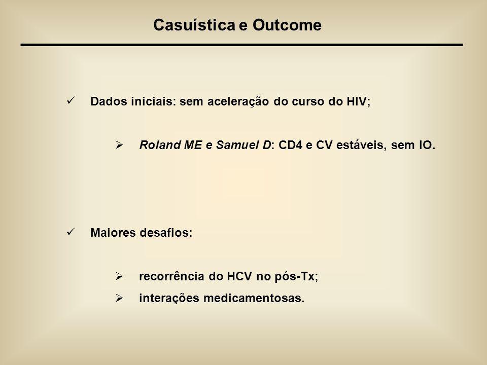 Dados iniciais: sem aceleração do curso do HIV; Roland ME e Samuel D: CD4 e CV estáveis, sem IO. Maiores desafios: recorrência do HCV no pós-Tx; inter