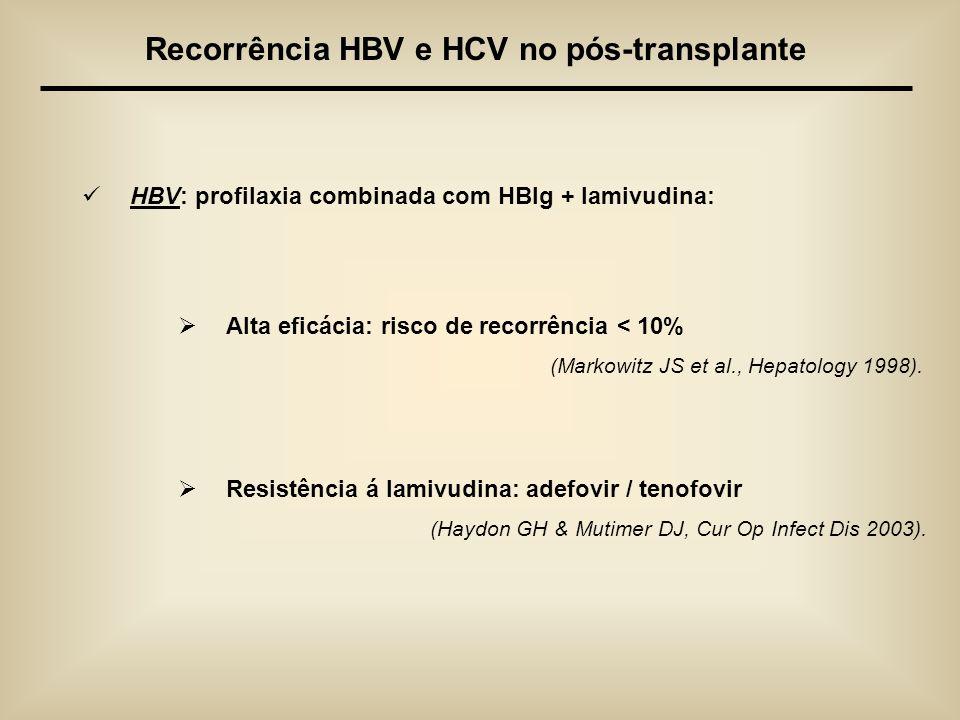 HBV: profilaxia combinada com HBIg + lamivudina: Alta eficácia: risco de recorrência < 10% (Markowitz JS et al., Hepatology 1998). Resistência á lamiv