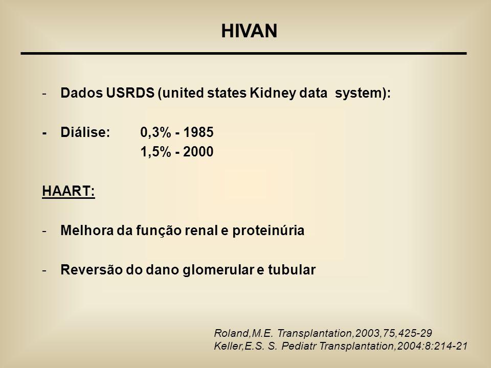 -Dados USRDS (united states Kidney data system): - Diálise: 0,3% - 1985 1,5% - 2000 HAART: -Melhora da função renal e proteinúria -Reversão do dano gl