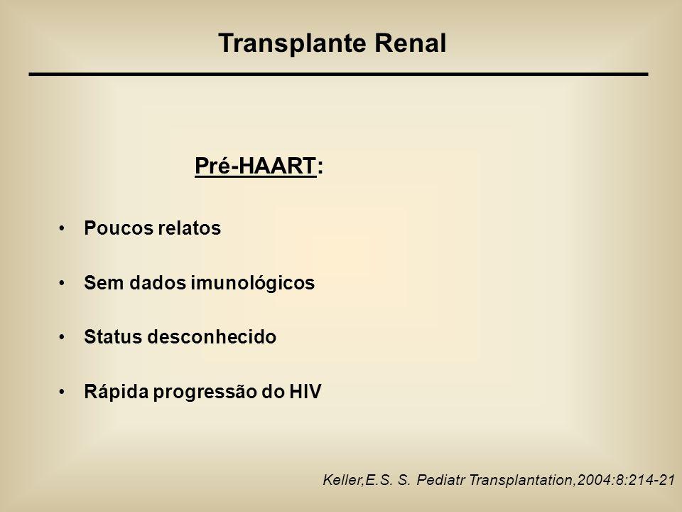 Pré-HAART: Poucos relatos Sem dados imunológicos Status desconhecido Rápida progressão do HIV Keller,E.S. S. Pediatr Transplantation,2004:8:214-21 Tra