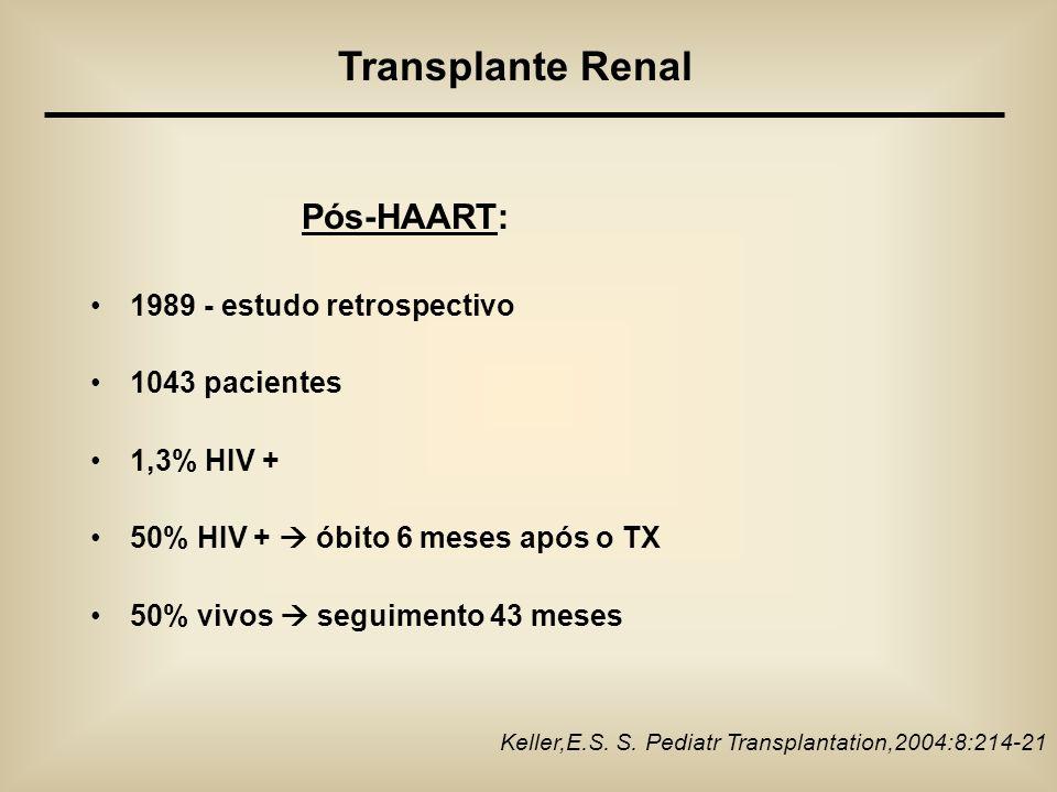 Pós-HAART: 1989 - estudo retrospectivo 1043 pacientes 1,3% HIV + 50% HIV + óbito 6 meses após o TX 50% vivos seguimento 43 meses Keller,E.S. S. Pediat