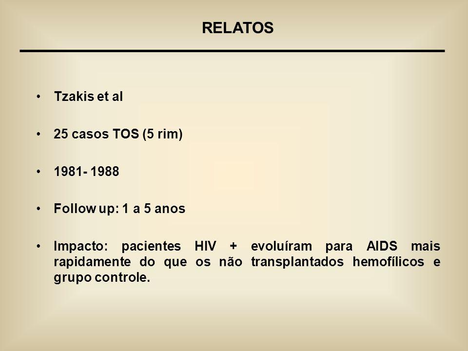Tzakis et al 25 casos TOS (5 rim) 1981- 1988 Follow up: 1 a 5 anos Impacto: pacientes HIV + evoluíram para AIDS mais rapidamente do que os não transpl